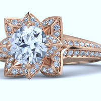 2.34ct D-SI1 Lotus-Art Deco Halo Engagement Ring  Wedding Gift 18kt Pink Gold  JEWELFORME BLUE
