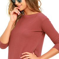 Obey Sarra Rust Red Sweater Top