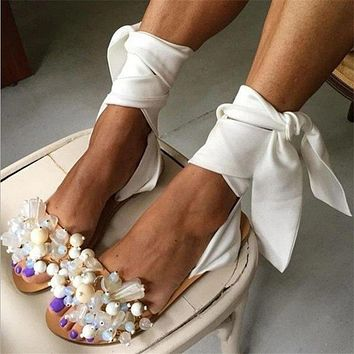 New fashion big size sandals and slippers women beaded straps flat shoes