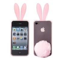 Pink Bunny Rabit Silicone Case Skin Stand with Tail Holder for AT and T Verizon Apple Iphone 4 4G 4GS S