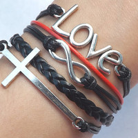The unlimited ancient silver - love - Cross woven bracelet