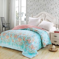 American style blue flower Adult duvet cover 100% cotton king queen full size simple plaid quilt case for bed new high quality