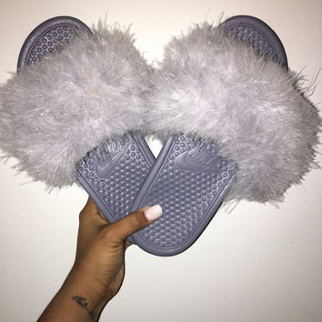 Gray Nike Faux Fur Slides