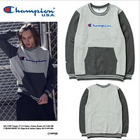 Champion letter embroidery hedging cashmere sweater men and women hit color stitching coat die fly skateboard couple