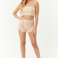 Lace-Up Cropped Cami & Shorts Set