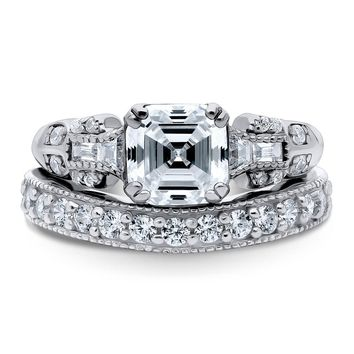 Sterling Silver Asscher CZ Solitaire Ring Set 2.708 CTWBe the first to write a reviewSKU# vr312-01
