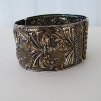 Whiting Davis Style Wide Clamper Bracelet Thistles Pomegranates Vintage Jewelry