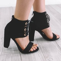 All Along Black Lace Up Heels