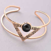 Aztec Stone and Triangle Detailed Bangle - Gold or Silver