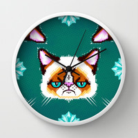 Grumpy Cat Geometric Pattern Wall Clock by chobopop