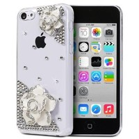 Fosmon GEM Series 3D Bling Design Case for Apple iPhone 5C (Clear Case / White Rhinestone Flower)