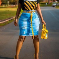 Blue Distressed Ripped Pocket Bodycon High Waisted Denim Casual Skirt
