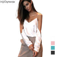 M.H.Artemis Cut out sleeve satin Blouse tank tops Sexy hollow out long sleeve tops Autumn winter loose streetwear blouse