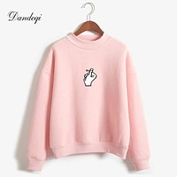 Casual Women Hoodies Sweatshirt 2018 Winter Autumn Thicken Harajuku Kawaii Gesture Print Sudaderas Mujer Long Sleeve Pullovers