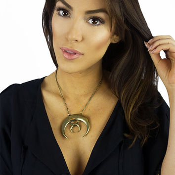 Torchlight Sacred Moon Necklace Brass