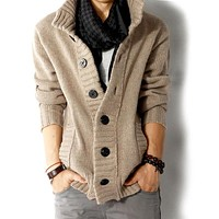 2017 brand fashion mens wool cardigan sweaters men's thick stand collar pullover korean full sleeves slim solid mens sweaters