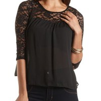 Sweetheart Lace Yoke Blouse by Charlotte Russe