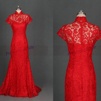 Floor length red lace evening dresses,elegant women gowns for prom party,affordable prom dresses,stunning wedding gowns.