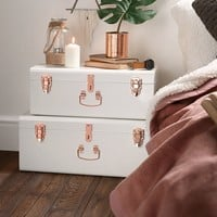 Beautify Cream Vintage-Style Steel Storage Trunk Set with Rose Gold Handles - College Dorm & Bedroom Footlocker