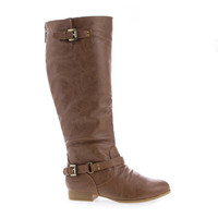 Coco1 Tan Pu by Top Moda, Tan PU Knee High Ankle Harness Zip Up Riding Boots