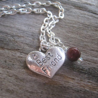 Best Friend Necklace, Personalized Best Friends Jewelry, Pearl Wedding Necklace, Heart Bridal Jewelry, Choose Your Color