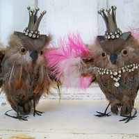 Feathered owl set collectible king and queen with crowns shelf home decor Anita Spero