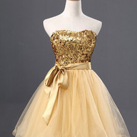 Gold Sparkle Short Tulle 2015 Homecoming Dress