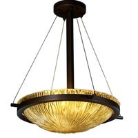 Justice Design Group GLA-9691-35-AMBR-NCKL-LED-3000 Veneto Luce Brushed Nickel LED 18-Inch Round Bowl Pendant with Amber Glass and Ring - (In Brushed Nickel)