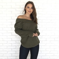 Got It Twisted Knit Back Sweater in Olive