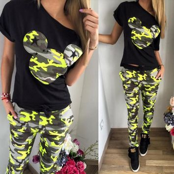 Mickey Mouse camouflage tracksuit printed casual short-sleeved pants two-piece suit