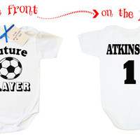 Custom baby bodysuit Future Soccer Player, funny baby boy bodysuit, fan soccer one piece bodysuit with name and number, soccer baby sports
