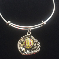 Softball Glove Crystal Charm on Silver Bangle /Alex and Ani Inspired / Gift / AAA Quality Material and Design / Sturdy / Team Gift / Coach
