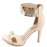 Golden Laser Cut-Out Ankle Cuff Heels by Charlotte Russe - Nude