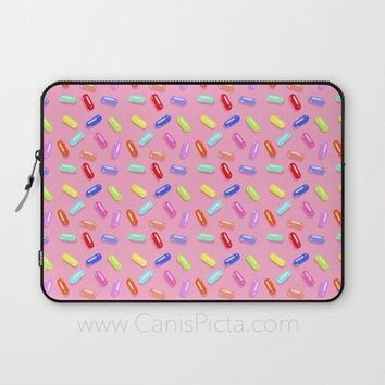 Pink Pill Pattern Laptop Case Sleeve Macbook Computer Tech Gear PC Gift 90s Colors Candy Nineties Eighties Neon Bright Bold Blue Cute Pastel