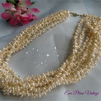 Faux Pearls Multi Strands Vintage White Seed Bead Necklace