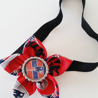 New England Patriots Headband, Football Headband, NFL Hair Accessory, Toddler and Newborn Headband, Patriots Hair Flower, Patriots Baby