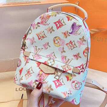 Inseva LV New fashion monogram leather backpack bag book bag White