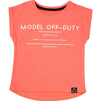River Island Mini girls coral model print t-shirt