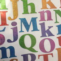 Alphabet Stickers Colorful and Shinny in Rainbow Colors