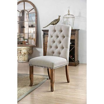 Button Tufted Fabric Upholstery Side Chair, Cream And Brown, Pack Of Two -CM3829F-SC-2PK By Casagear Home