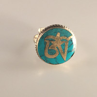 Turquoise Om Stone Finger Ring, Nepalese Finger Ring, Adjustable Ring, Spiritual Ring, Nepalese Jewelry,Tibetan Jewelry