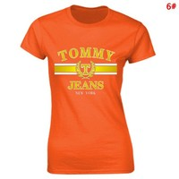 Tommy Fashion New Bust Letter Print Women Sports Leisure Top T-Shirt 6#