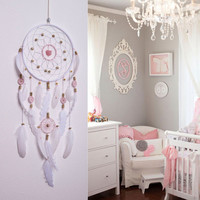 Large Pink Dream Catcher, White and Pink DreamCatcher, Bohemian Dream Catcher, Dream Catchers, natural stone, wall decor, wedding decor