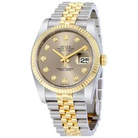 Rolex Datejust 36 Grey With 10 Diamonds Dial Stainless Steel and 18K Yellow