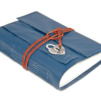 Navy Blue Leather Journal with Heart Bookmark - Ready to ship -