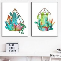 Hanging Basket Cactus Wall Art Canvas Painting Posters And Prints Watercolor Poster Wall Pictures For Living Room Home Decor