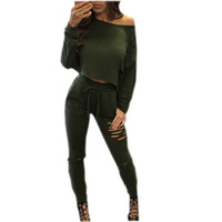 Women 2 Piece Set 2016 Autumn Winter Pants and Crop Top Suit Sexy Fashion Hollow Out Sexy Holes Sportswear Tracksuit Set GV455