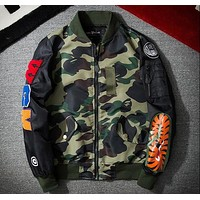 New fall American embroidery gold shark head MA1 air suit tide men and women stand-collar baseball jacket