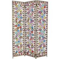 Oriental Furniture BD-SCRN4 5 1/2 Ft. Tall Flowers and Beads Room Divider, Width - 16 Inches