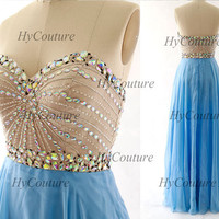 Prom Dresses, Strapless Sweetheart Long Chiffon Prom Gown, Sky Blue Long Formal Dresses, Floor Length Wedding Party Gown